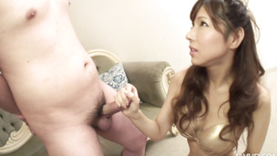 Oriental hottie Hayakawa Serina loaded with a sticky spag