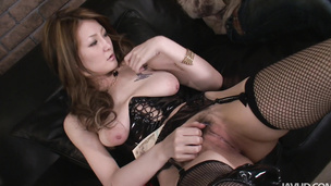 Three cocks have their kinky bondage way with Hinouchi You