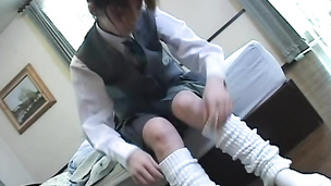 Kinky teen Asian babe in school uniform ed and drenched with cum on face