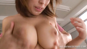 Spicy japanese Nami Hoshino spreads legs and starts in various positions during sex