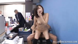 Ravishing Ayumi Kimino exposes body and stands doggy style to be nailed hard