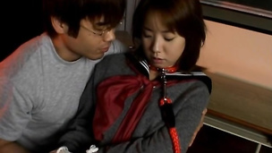 Spicy asian Ami Shono gives her partner an intense blowjob