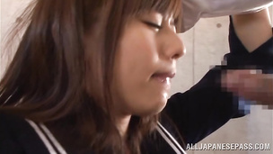Lovable Rina Rukawa works fine shaft in her little poon tang