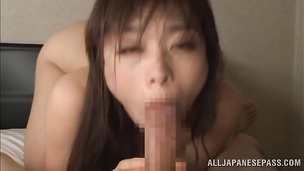 Wanton japanese babe and boyfriend share a fuck that's deserving a medal