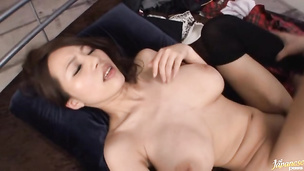 Magnificent japanese diva Ruri Saijoh puts a dong in her mouth and sucks it