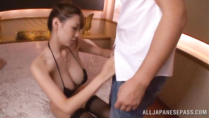 Awesome oriental Shion Utsunomiya receives a big cock in her wet nana
