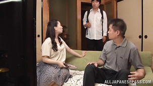 Salacious eastern Nami Horikawa sucks thick pole and gets her wet nana doggy fucked